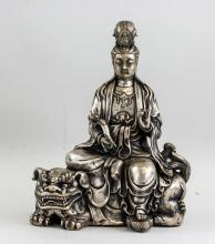 Lot 396: Chinese Silvered Manjushri Statue with Marks