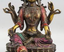 Lot 395: Chinese Ming Style Gilt Bronze Six-Arm Guanyin