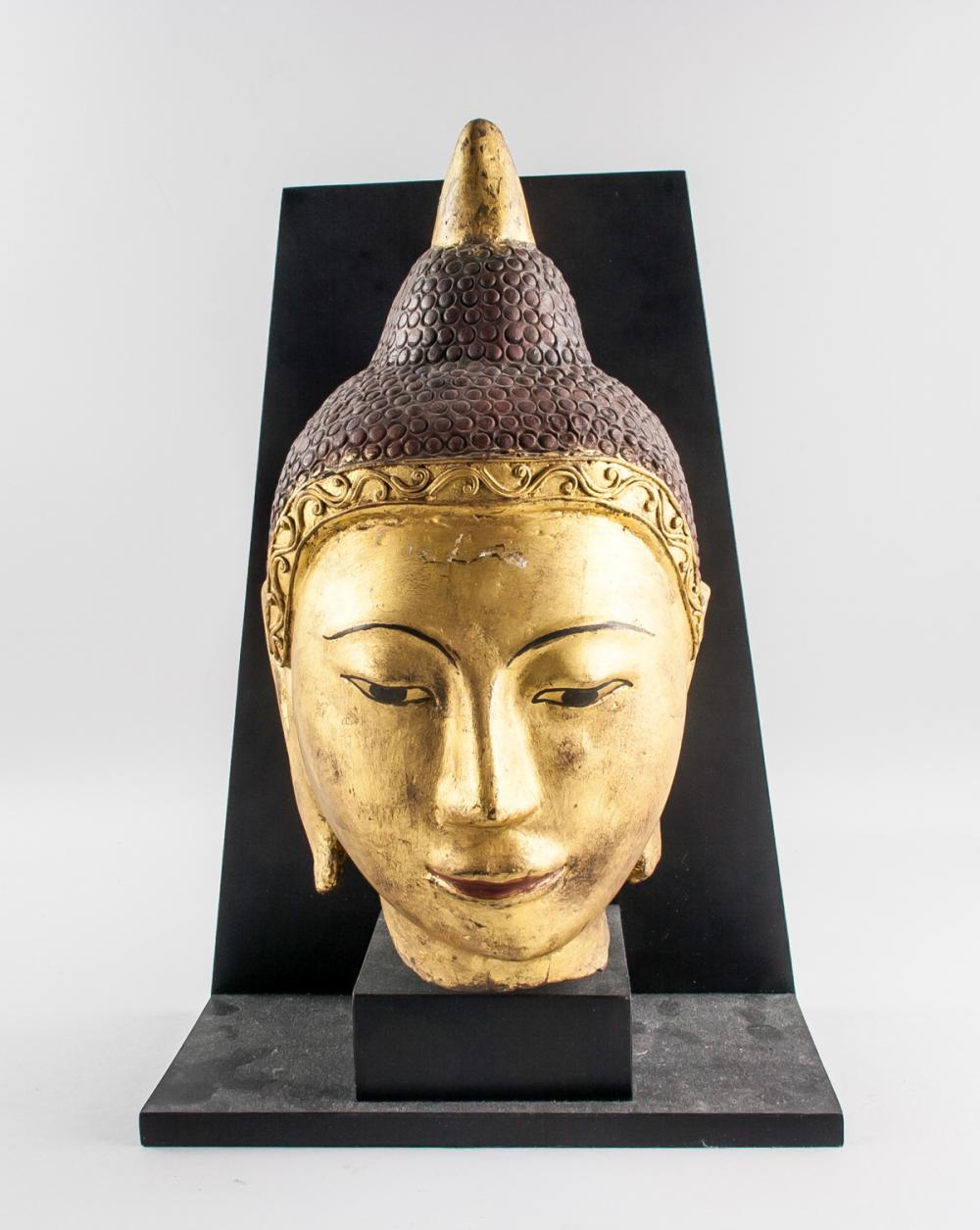 Lot 398: Burmese Wood Gold Painted Buddha Head