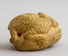 Lot 400: Chinese Lacquer Wood Pendant and Toad Netsuke