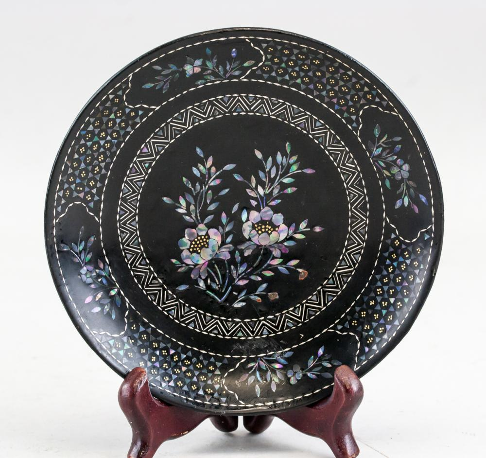Lot 401: Pair Chinese Lacquer Wood Plate with Qianlong Mark