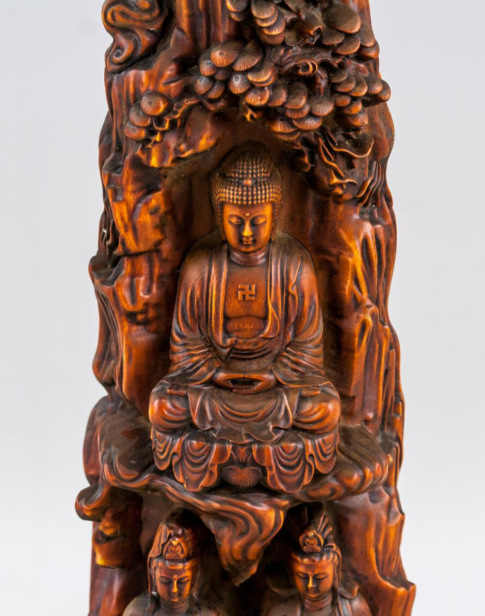 Lot 399: Chinese Rosewood Carved Buddha Boulder