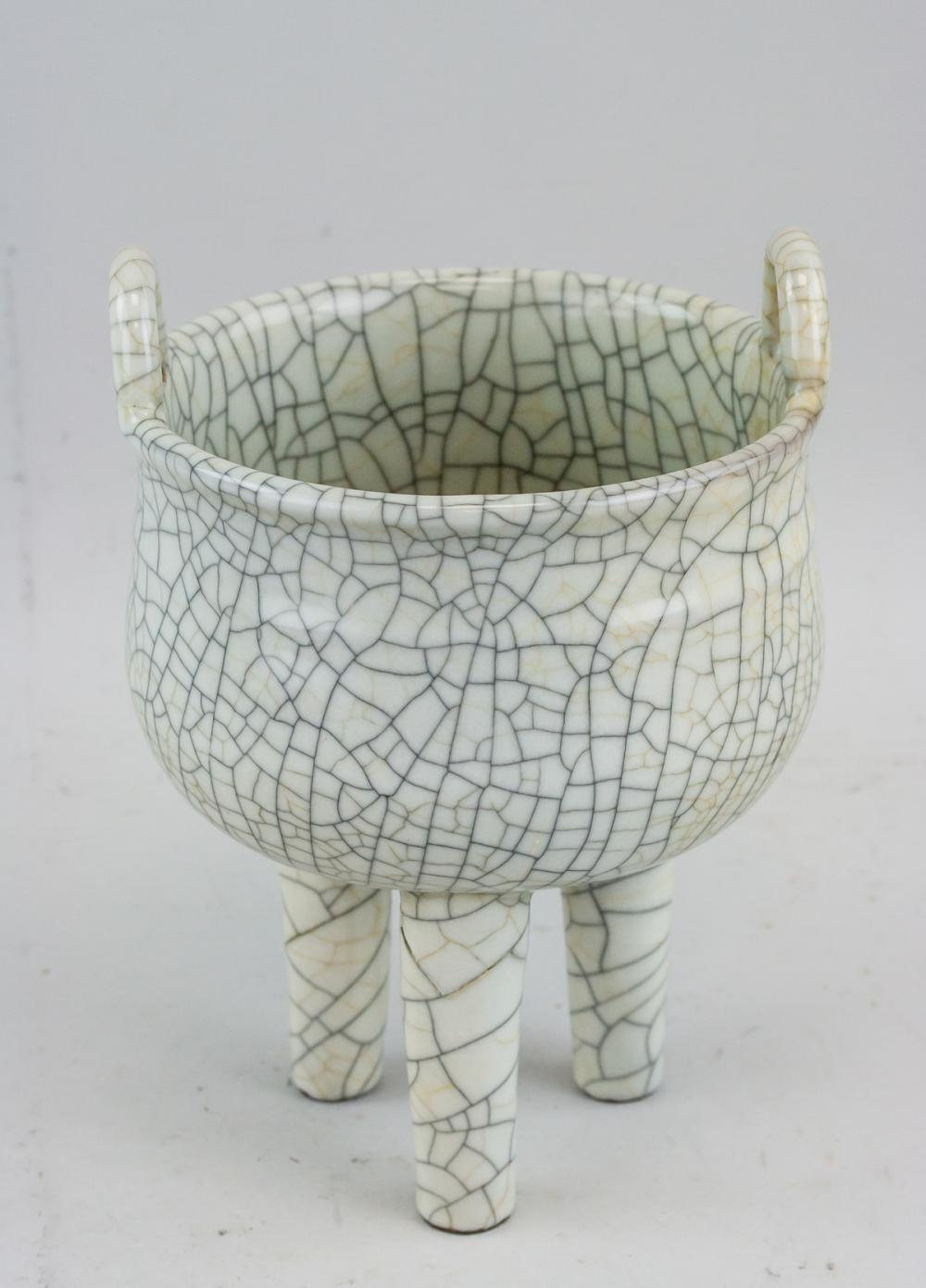 Lot 410: Chinese Song Style Crackle Porcelain Censer
