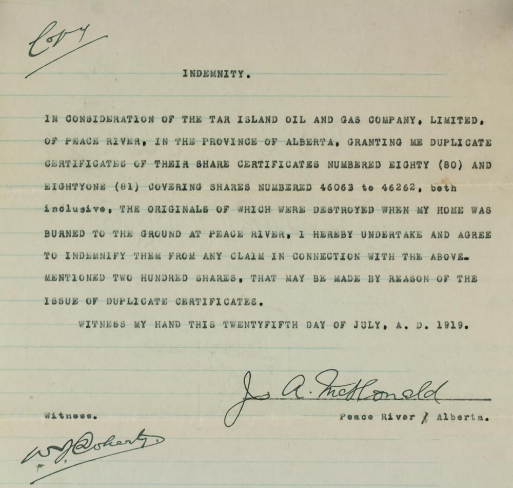 Lot 415: 1919 Tar Island Oil & Gas Company Indemnity Letter