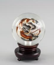 Lot 413: Chinese Tiger Crystal Ball with Wood Stand