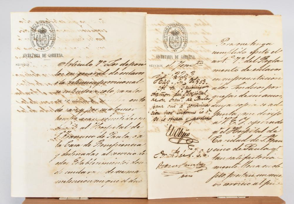 Lot 416: Two 19th Century Cuban Slavery Manuscripts