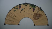 Chinese Flower and Bird Fan Painting Signed