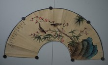 Chinese Flower & Bird Fan Painting Signed & Sealed