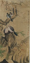 Chinese Bird and Prunus Painting Signed Wang Wu