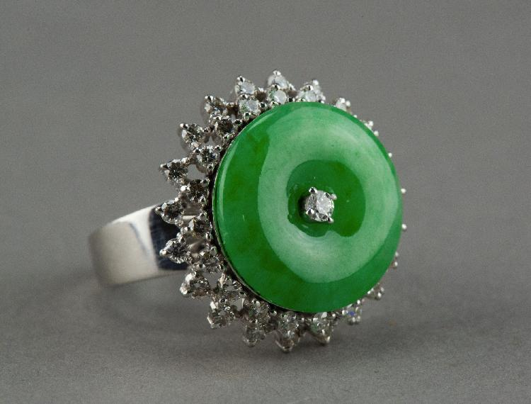 Natural Emerald Green Jadeite Ring w/ 43 Diamonds