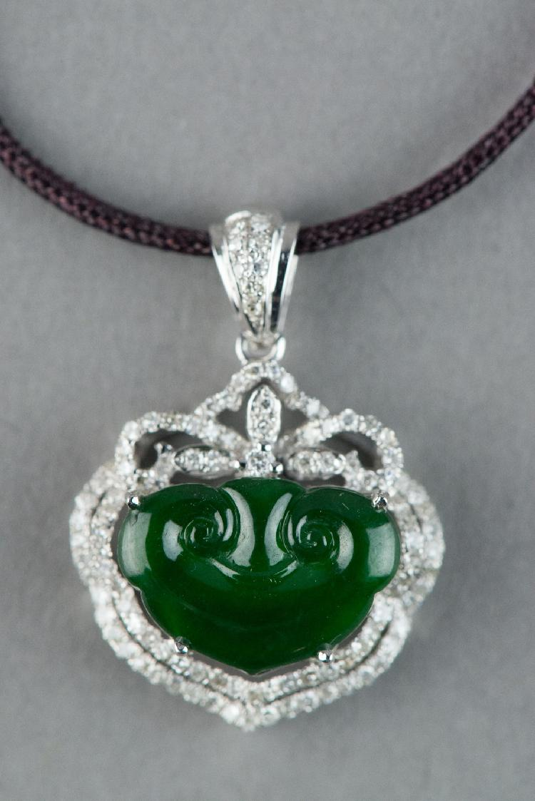 Emerald Green Jadeite 18K Gold w 99 Diamonds Cert