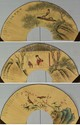 Set of Three Pieces Fan Paintings Signed Wang Su