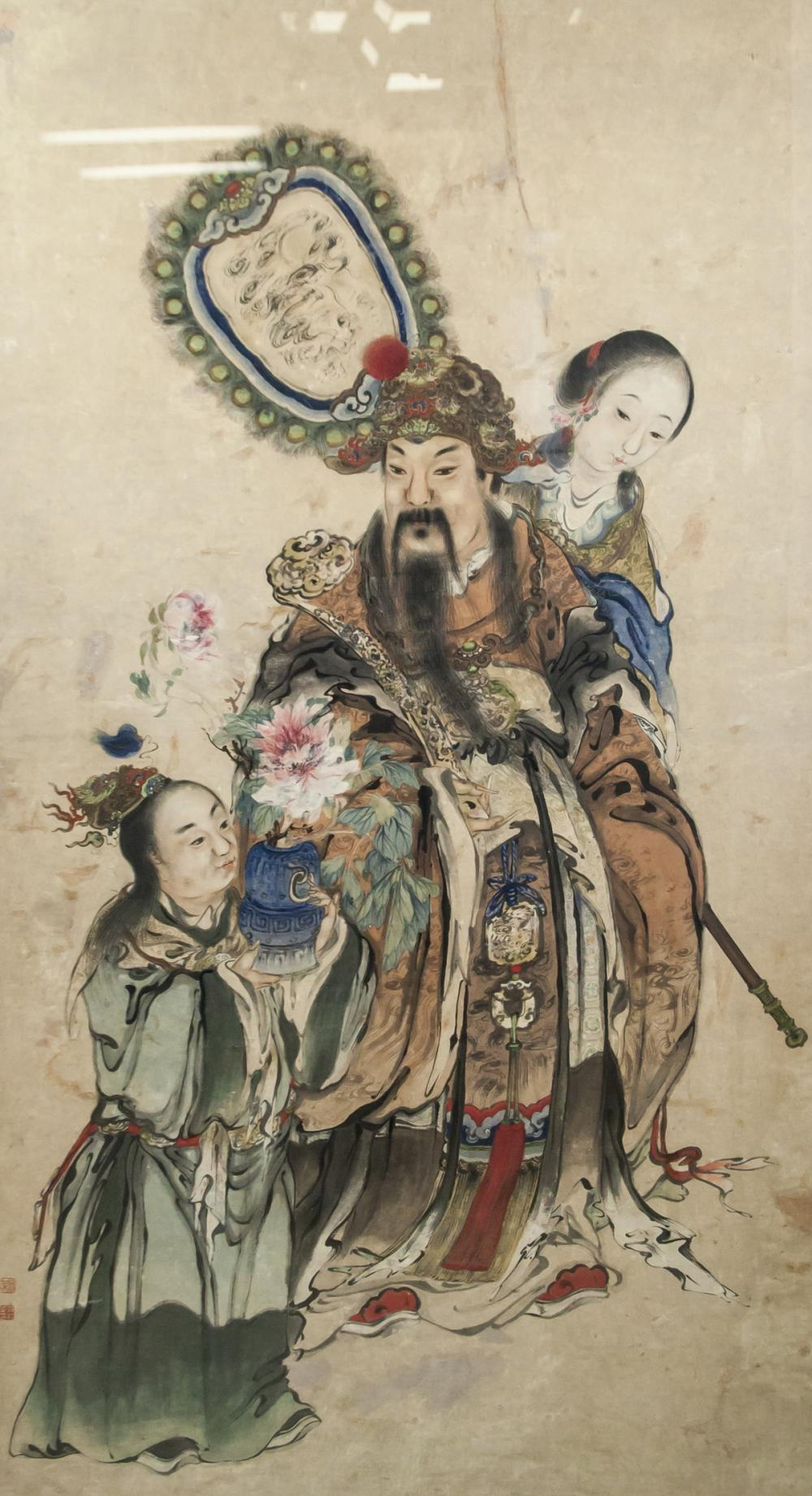 Chinese Watercolor Emperor with Artist Seals