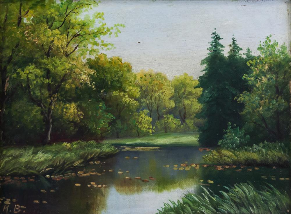 Oil on Canvas Landscape Continental Signed K. B.