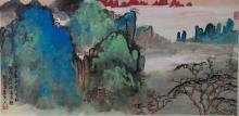 Chinese Mountain Scene Painting Signed Liu Haili