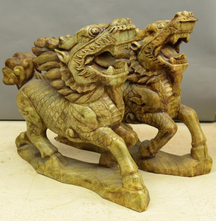 Pair Of Large Jade Carved Qilin Dragon Statues