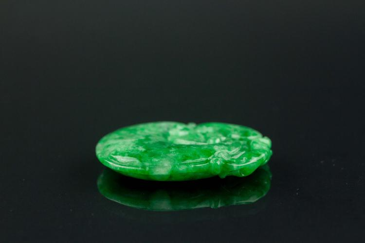 Chinese green jadeite carved ruyi pendant for Furniture 888 formerly green apple