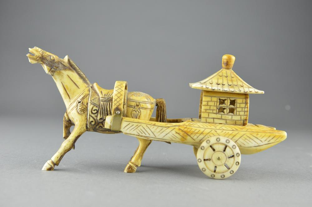 Chinese Bone Carved Horse Drawn Carriage