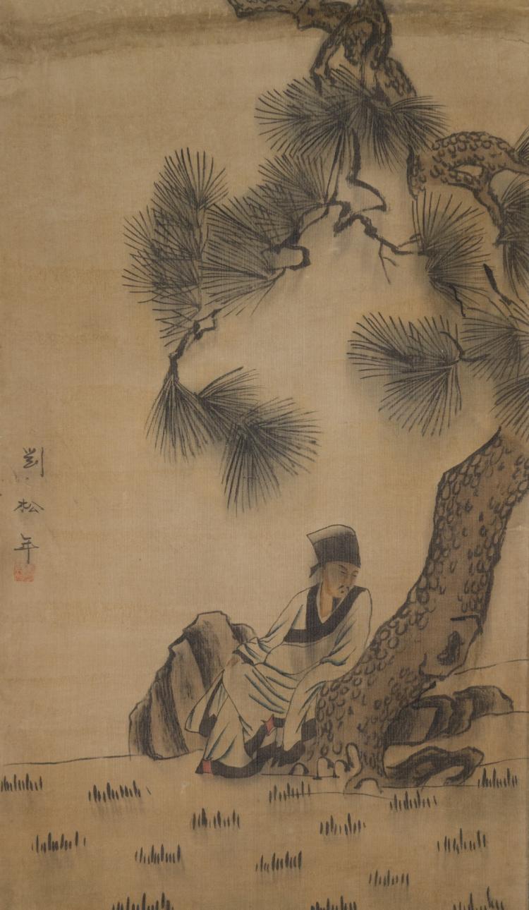 Chinese Scroll Watercolour on Silk Liu Song Nian