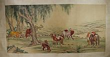 Chinese Group of Horses Painting Ma Jin (1900-1970
