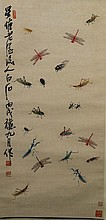 Chinese Painting of Insects Signed Qi Bai Shi