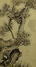 Chinese Painting of Pine Tree Signed Wu Hu Fan
