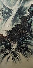 Chinese Painting of Waterfall Signed Li Xiong Cai