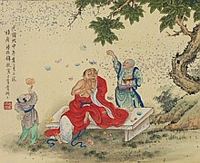 Chinese Painting of Monk Signed Pan Zheng Yong