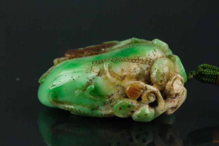 Chinese green jadeite stone carved pendant for Furniture 888 formerly green apple