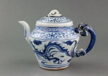 Chinese Yuan Style Blue and White Porcelain Teapot