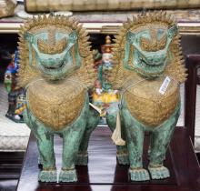 Pair Thai Bronze Lion Statue with Tags