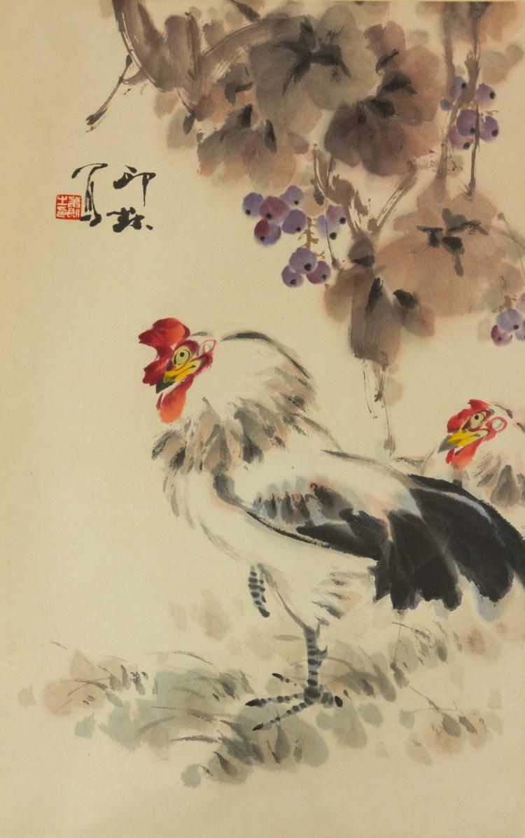 Xiao Lang 1917-2010 Watercolour on Paper Scroll