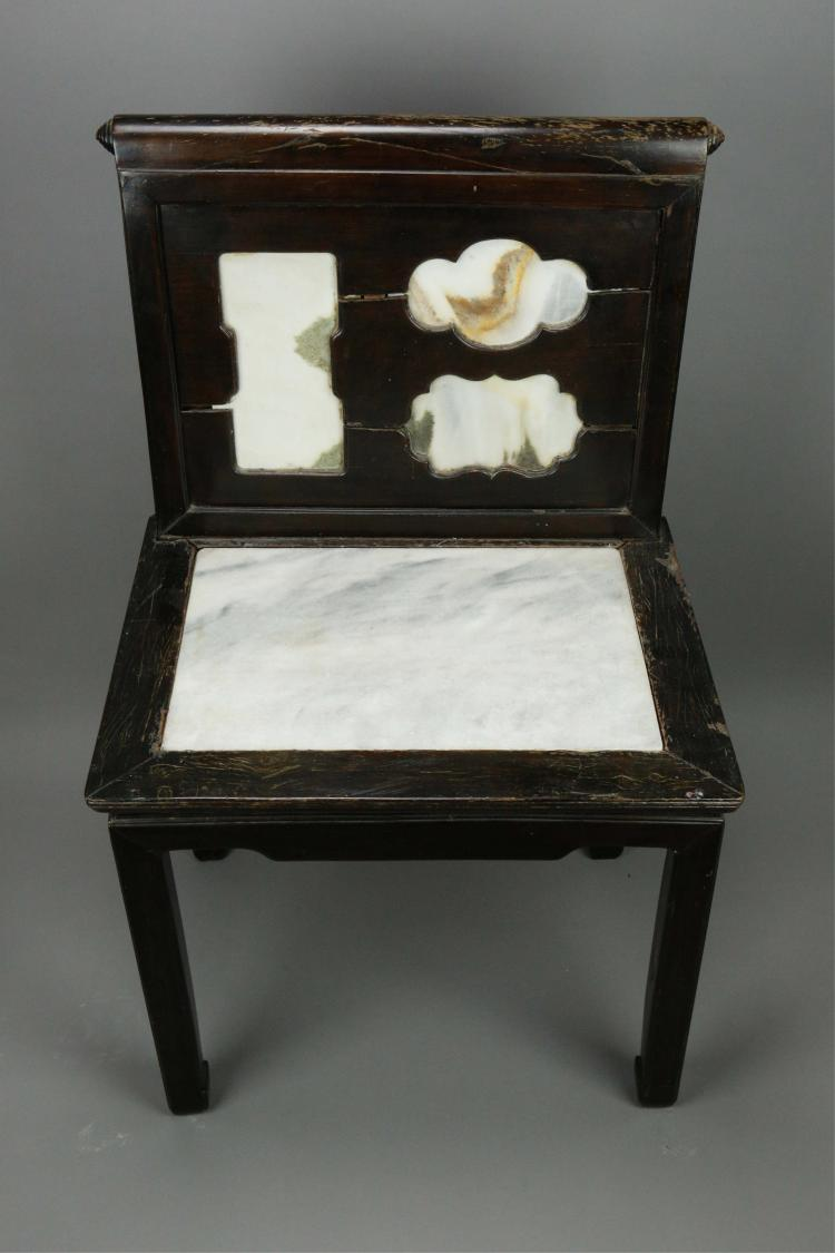 Chinese old rosewood chair w marble deco for Old asian furniture