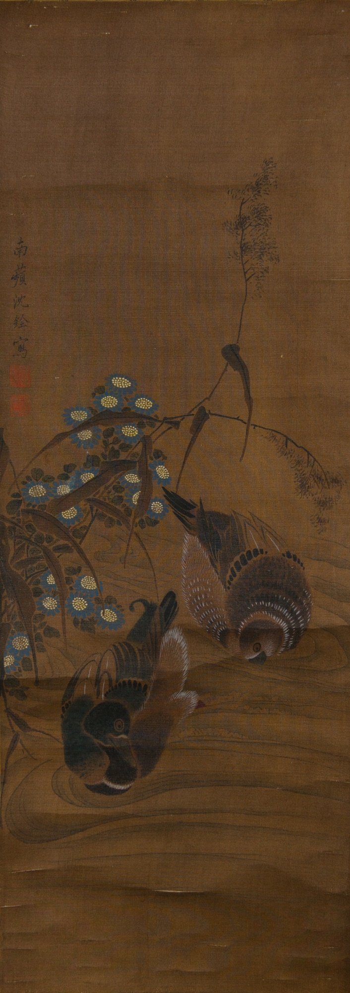 Chinese Mandarin Ducks Painting Signed Shen Quan