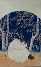 20th C. Chinese Resting Lady Painting Hor Jia Ying