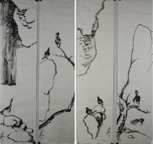 Set of Four Birds Paintings Signed and Sealed