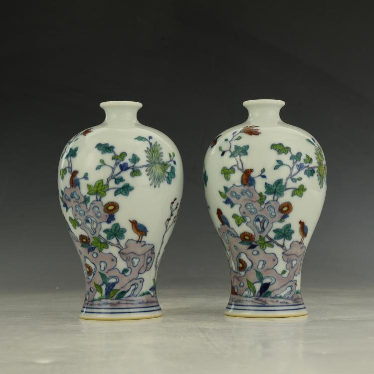 Pair of Chinese Dou cai Vase