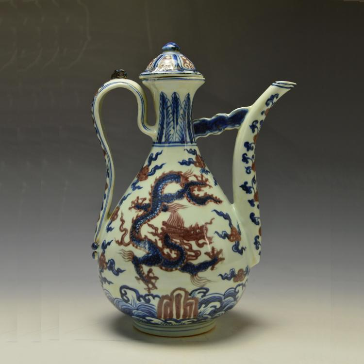 Chinese Blue and Copper Red Pot
