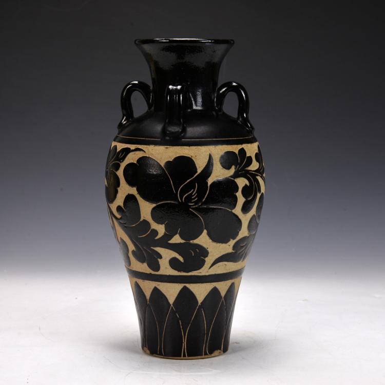 Chinese Ci Zhou Vase Carved