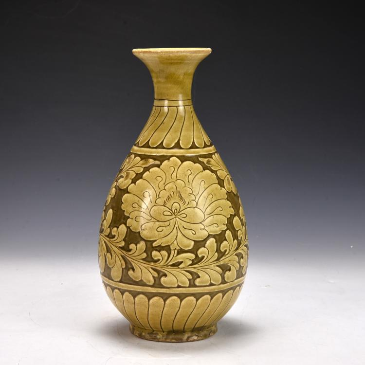 Chinese Ci Zhou Vase Carved