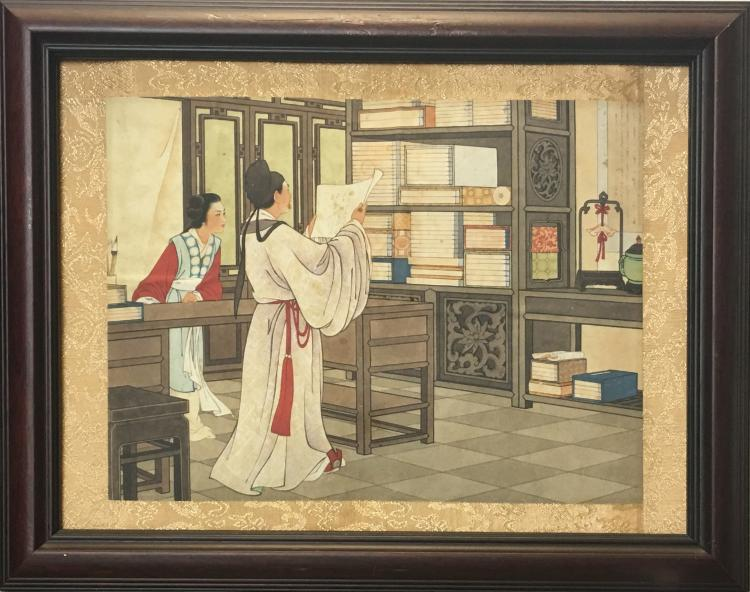 Chinese Paintings of The Story of the Western Wing with Frame