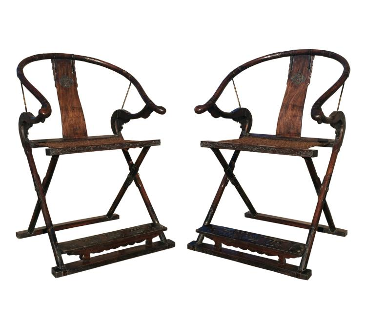 Pair of Chinese Antique Hardwood Chairs