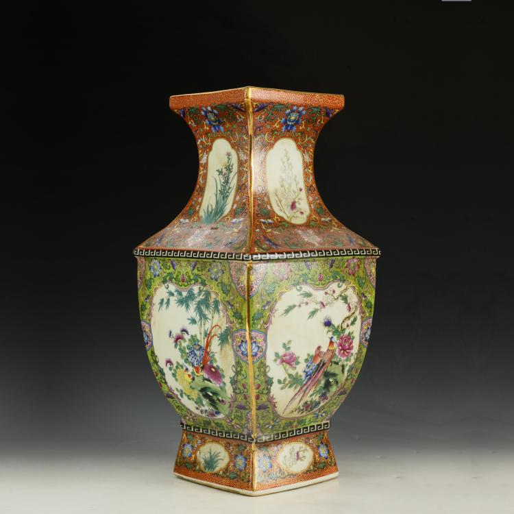 Chinese Famille Rose Square Vase