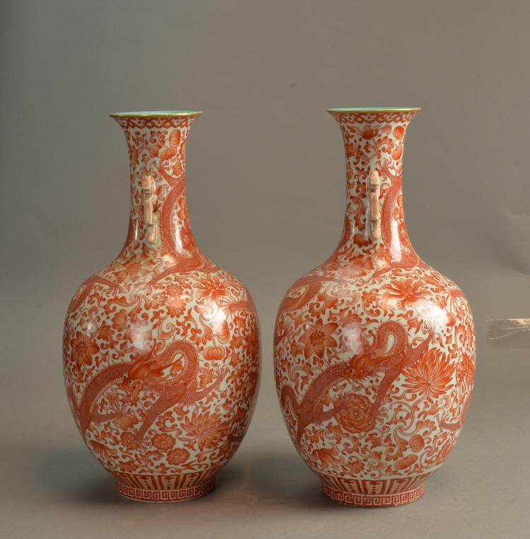 Pair of Antique Chinese, GuangXu Marks and of the Period coral red decorated porcelain vase