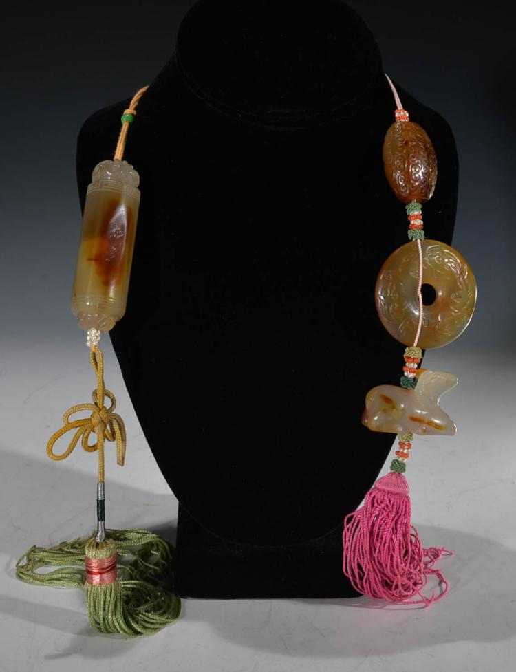 Two Chinese Agate Necklaces
