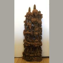 Fine Antique Carved Sandalwood Asian Gods
