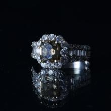1.5 Carats Natural Color Diamond with Platinum Ring