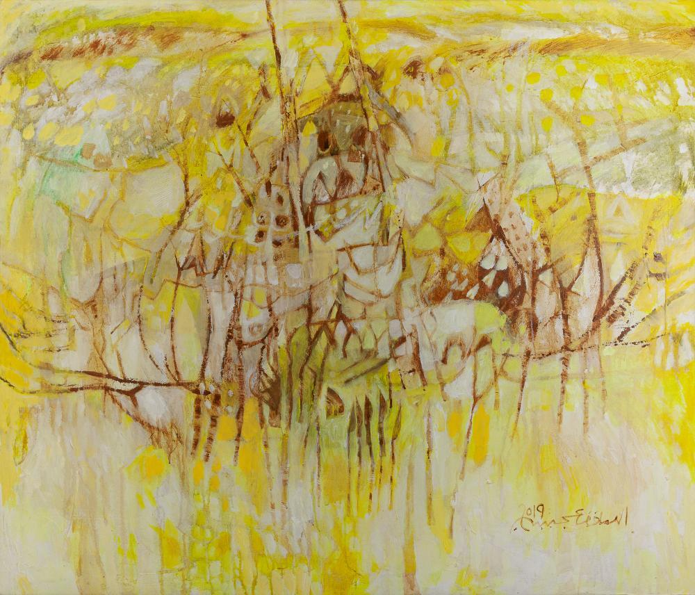 Elsadig Agena (Sudanese, born 1963) Untitled (Yellow Landscape), 2019