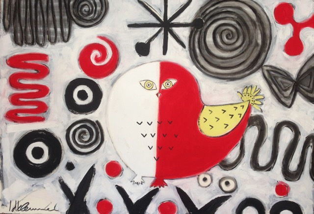 Inuit/Calder Influences: Red/White Owl