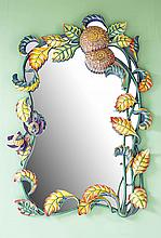 MODERN CARVED AND PAINTED WOOD MIRROR